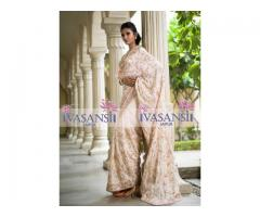 Off White Silk Saree at Vasansi Jaipur