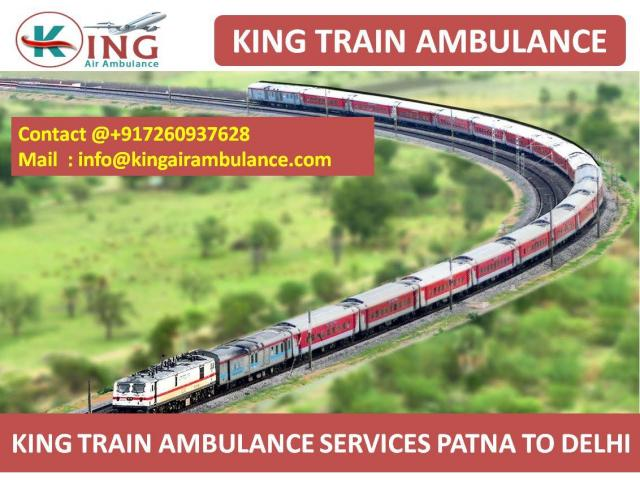 Get Emergency ICU Support Train Ambulance from Patna to Delhi by King