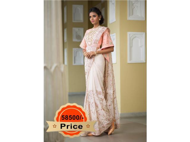 Buy Off White Silk Saree From Vasansi Jaipur