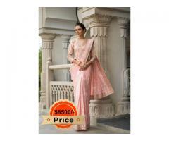 Buy Pink Georgette Saree From Vasansi Jaipur